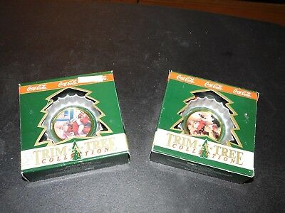 Coca-Cola Trim A Tree Collection Bottle Cap Christmas Ornaments 1993 and 1994