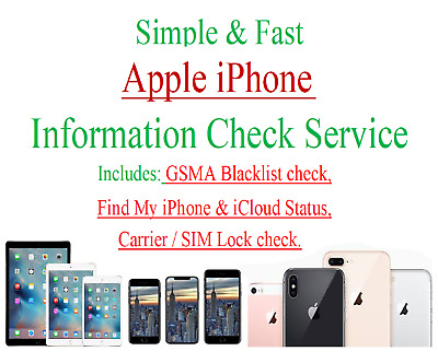 Apple information service Blacklist Find My iPhone status Carrier SIM Lock check