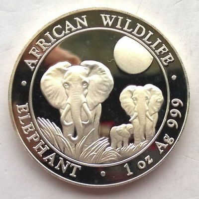 2014 Somalia 1 oz Silver Coin Elephant BU Very LOW MINTAGE