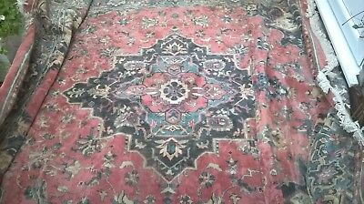 Stunning Traditional Persian Oriental Hand-Made Wool Blue Large Rug 325 X 250 Cm