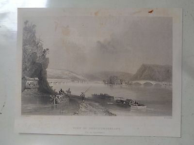 View of Northumberland (On the Susquehanna) - 1852 engraving by William Bartlett