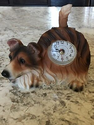 Collie Dog Clock with Wagging Tail