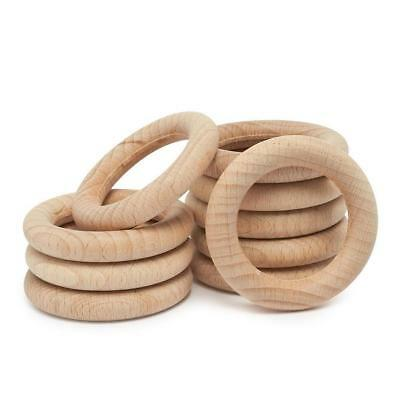 10Pcs Baby Wooden Teething Rings Necklace Bracelet  Crafts Natural Kit: