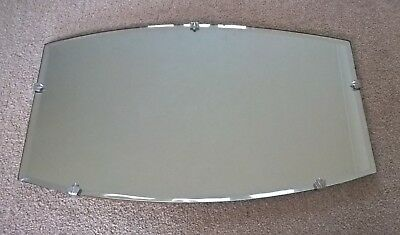 Vintage Bevel Edged Art Deco Mirror Silver Clasps Retro Wall Mantle Hall 50 60's