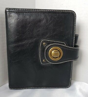 "Franklin Covey COMPACT Planner Black Distressed Leather Twist Lock 1"" Rings"
