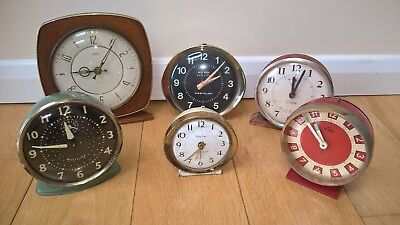 Job Lot 6 Vintage Alarm Clocks & Mantel Restoration Smiths Westclox Big Ben 50's