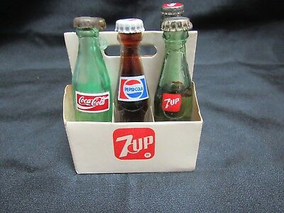 Vintage Miniature Coca Cola, Pepsi, 7UP, Canada Dry Spur Cola Bottles