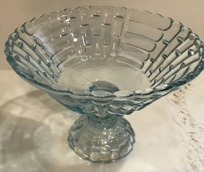 Vintage Floragold Glass Centerpiece Compote Fruit Bowl. Clear Blue 1940's