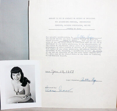 -Rare- 1957 -Bettie Page- Vintage Twice-Signed/Autograph Pin-Up Photo Contract