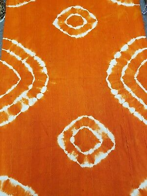 FREE SHIPPING! Authentic African Mud Cloth Fabric Handwoven Orange