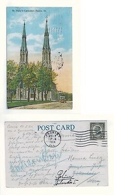 AK Postcard USA - Peoria, Illinois - St. Mary's Cathedral / 1924