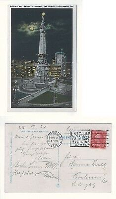 AK Postcard USA - Indianapolis, Indiana - Soldiers and Sailors Monument, 1924