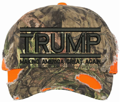 Make America Great Again TRUMP 2020 Mossy Oak Country Blaze Frayed HAT