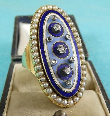 Magnificent Early Russian Solid Gold Ring Enamel Diamonds Pearls Moscow C1780