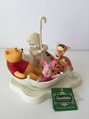 """Dept. 56 Snowbabies Disney Guest Collection """"Blustery Day with Pooh""""  #797019"""