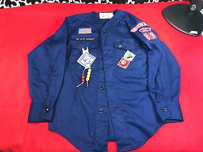 Vintage Boy Scouts of America Cub Scout LS Collarless Official Shirt - Sz. ??