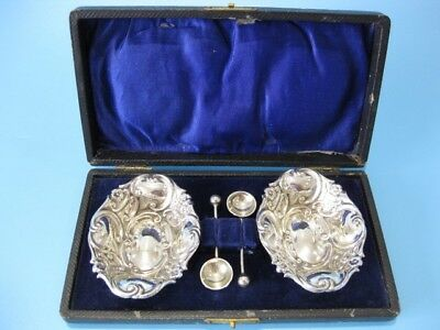 Lovely Boxed Antique Pair of Silver Plated Ornate Victorian Open Salts / Cruets