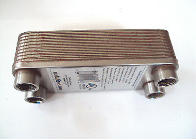 """WVO 20 plate Heat Exchanger: Brazed Plate, Stainless Steel with 1/2"""" ports"""