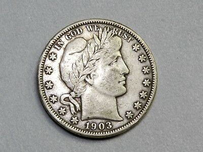 1903-O Barber Silver Half Dollar. Very Nice Silver Type Coin. Free Shipping!