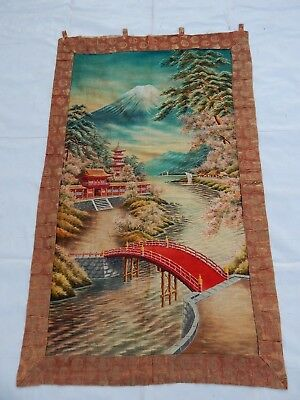 Antique Chinese/Japanese 19thC Landscape Hand Embroidery Panel 146X90cm
