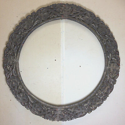 Large Hand Carved Circle Frame from India
