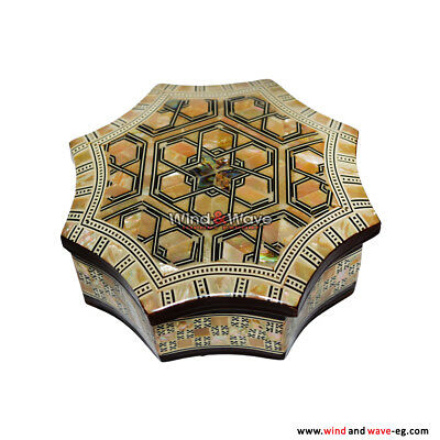 Lovely Jewelry Box Pure Mother of Pearl / Egyptian Decorative Mosaic Box