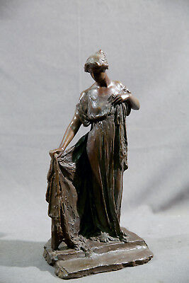 Antique Bronze 19th Century Standing Lady Sculpture Bessie Potter Vonnoh
