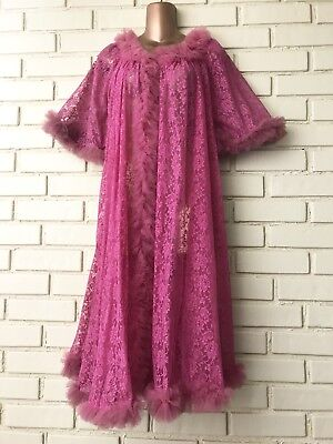 VTG 50-60's Peignoir Pink Nylon Lace Tulle Night Gown Robe Sz Small
