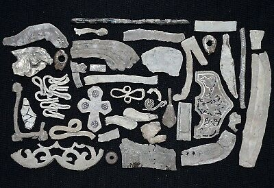 Lot of over 30+ Ancient Viking Silver Archaeology Detector Finds, c 950-1000 Ad.