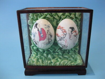 Beautiful Little Vintage Pair of Hand-Painted Chinese Egg Shells in Glass Case