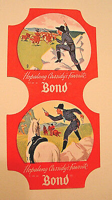 Vintage 1950's Hopalong Cassidy BOND BREAD END LABELS #9 & 10,Still Attached,Exc