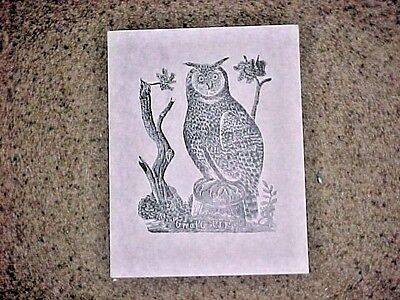 "Parson Jonathan Fisher woodcut print ""Great Owl"" marked ""Limited Edition"""