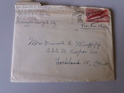 Cover Envelope +letter oct 1945 US Army postal service 6 c Ohio