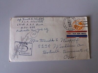 Cover Envelope +letter may 1945 US Army post 6 c Ohio passed ex.