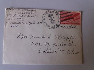 Cover Envelope +letter dec 1945 US Army postal service 6 c Ohio plane stamp