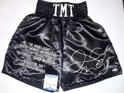 "Floyd Mayweather Jr. Signed  ""the Money Fight"" Black Boxing Trunks W/beckett Coa"