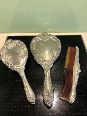 Vintage silver plated Art Nouveau style vanity set of brush , mirror, comb ; VGC