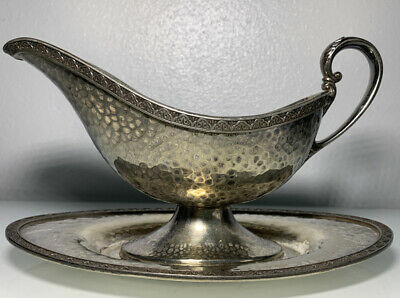 Antique Vintage Derby S.P. Co. Silver-plated Gravy Boat Hand Beaten EPNS 5140