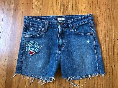 "Vintage Levi's Cut Off distressed Shorts Size 5 (W-30"") With Tiger Patch"