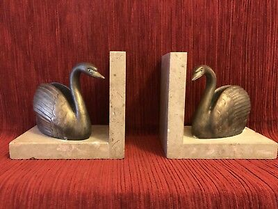 Beautiful Art Deco Marble Bookends Featuring Swan Figures