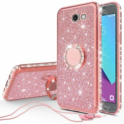 For Galaxy J7 Sky Pro/J7v/Halo Cute Bling Phone Case for Girls Ring Kickstand