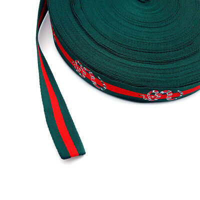 Red green printed snake gucci inspired webbing trim 25mm 1 yard DIY decorations