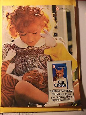 PURINA CAT CHOW LITTLE GIRL WITH ORANGE  Magazine AD 1985 FREE SHIPPING