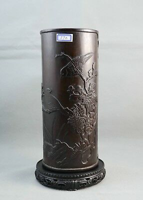 19th Antique Old Chinese Bamboo brush pot  - Highly Collectable