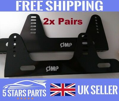 !2 PAIRS! Black Bucket Seat Side mounts/Brackets Sparco OMP Cobra,Rally/Race/FIA