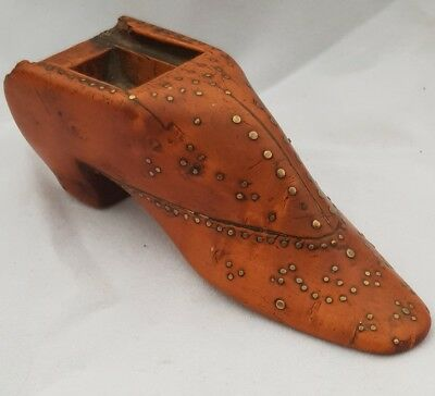 Antique 1847 Yew Wood & Pique work Snuff box inscribed JC in form of boot shoe