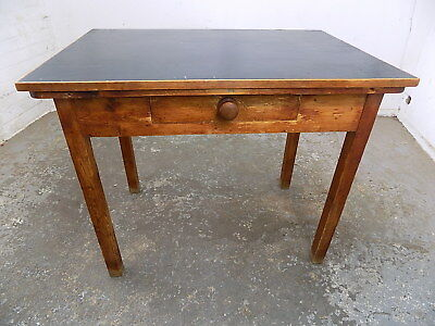 vintage,small,pine,table,desk,drawer,black,rexine top,writing table,dining,write