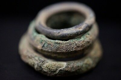 Group of 3 Ancient Viking Bronze Hair / Beard Rings, c 950-1000 Ad. Norse Relics