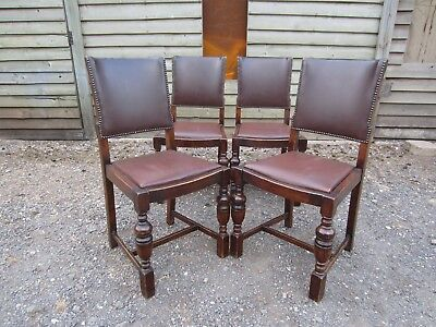 Set of Four Antique Solid Oak Leather Back Dining Chairs