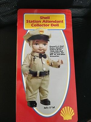 SHELL OIL GAS STATION ATTENDANT DOLL MINT IN THE Metal Box